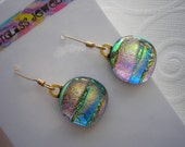 Dichroic Earrings Gilded Iridescence Button Shaped Dangly 14K Gold Earwires Fused Glass Jewelry Funky Earrings Shifting Island Colors Dichro