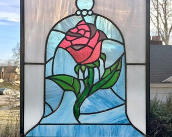 "Rose Under a Glass Dome Panel --11"" x 13"" -  Stained Glass Window Panel"