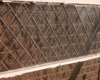 Vintage Leaded Glass Window; Vintage Leaded Glass Panel; Transom; Honeycomb Window with Leaded Glass; Antique Window; Wavy Glass Window
