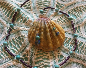 Sunrise Shell // Beaded Window Hanging Decor // Ornament