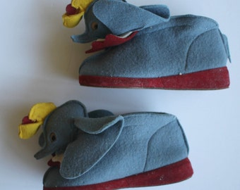 Adorable Vintage 1940's Walt Disney Character House SHOES by Trimfoot...Dumbo...Children's size 5