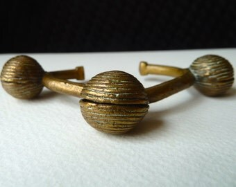 Antique African Brass Bracelet - Yoruba Bell Bracelet - Brass Cuff Nigeria - Collectible