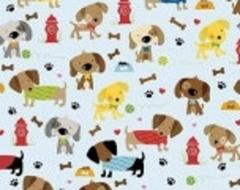 Blue Red Yellow and Brown Puppy Dog Jersey Knit Fabric, Rover By Bella Blvd for Riley Blake Designs, 1 Yard JERSEY KNIT