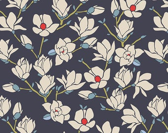 Navy Blue Red and Cream Magnolia Flower Fabric, Charleston by Amy Sinibaldi for Art Gallery Fabrics, Magnolia in Nightfall, 1 Yard Cotton