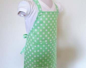 Childrens Apron - Lime Green Polka Dot Kids Apron - Retro fun dots for toddler on up, great for cooking or creating fun holiday goodies in