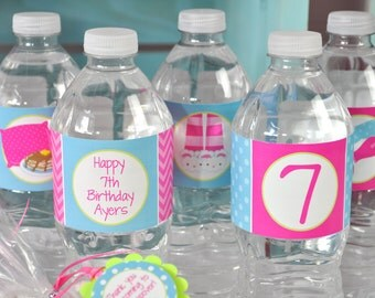 Slumber Party Water Bottle Labels, Pajama Party, Sleepover Birthday, Pancakes and Pajamas Party, Girls Birthday Drink Labels - Set of 10