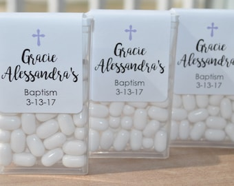 Baptism Party Favors, Tic Tac Labels Mint Favors, Mint Favors, Cross Girls Baptism, Personalized Party Favors - Set of 24 Labels