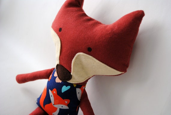 Stuffed Fox-Fox Toy-Lovie-Stuffed Animal-Re-Purposed-Up-Cycled-Fox Stuffed Animal