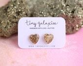 gold glitter heart earrings on sterling silver posts