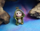 """20% off with Coupon Code: MICROGNOME20 Tiny 'Rietta' Princess Gnome with jewels 1+1/2"""" by Sculpture Artist Ann Galvin Art Doll"""