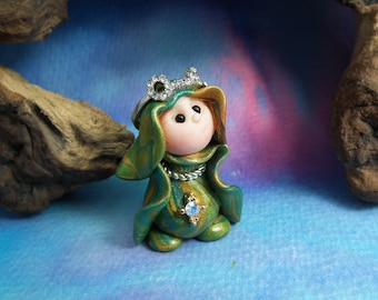 """20% off with Coupon Code: MICROGNOME20 Tiny 'Embrie' Princess Gnome with jewels 1+1/2"""" by Sculpture Artist Ann Galvin Art Doll"""