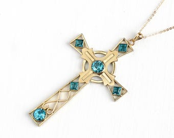 Vintage Blue Rhinestone Cross Necklace - Large 1940s Late Art Deco Crucifix Religious Pendant Open Metal Glass Gold Filled Jewelry