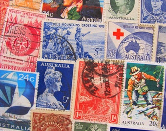 The Land Down Under 50 Vintage Australian Postage Stamps Australia Aussie Oz Sydney Melbourne NSW Tasmania Pigmy British Territory Philately
