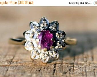 SALE10 Vintage Ruby Diamond Ring Engagement Ladies Wedding High Fashion 9ct 9k Yellow Gold | FREE SHIPPING | M.5 / 6.5
