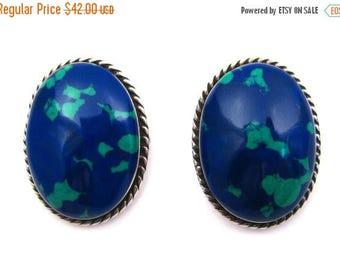 SPRING SALE Vintage Mexican Blue Azurite Sterling Silver Pierced Ear Earrings