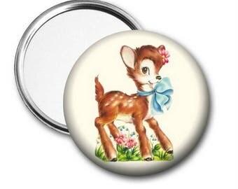 Baby Deer Pocket Mirror, Deer Pocket Mirror