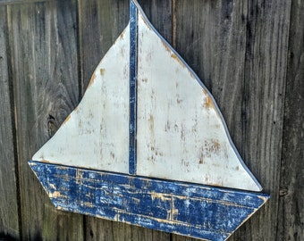 LARGE Rustic Weathered Style Sailboat, Nautical Wall Decor