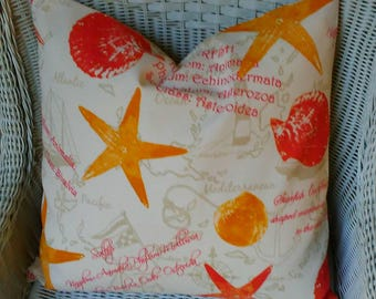 NEW Orange Starfish Pillow INDOOR OUTDOOR cover All Sizes, Fabric Both Sides,Your Choice Size
