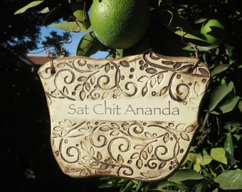 Handmade Sat Chit Ananda Ceramic Plaque