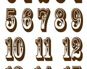RESERVED for K: Custom Sized Circus Style Number Decals