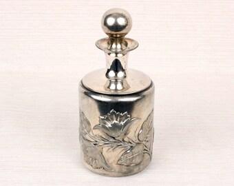 victorian HARTFORD silverplate perfume bottle • lovley floral repoussé