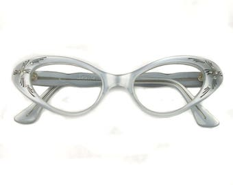 vintage mint green CATEYE frames • 1950s french glasses with rhinestones