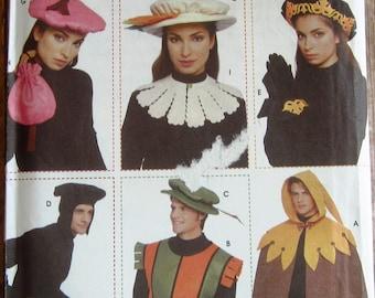 Misses Mens Teens Renaissance Accessories: Cape, Vest, Cuffs, Bag & Hats in Three Sizes Andrea Schewe Simplicity Pattern 5974 UNCUT