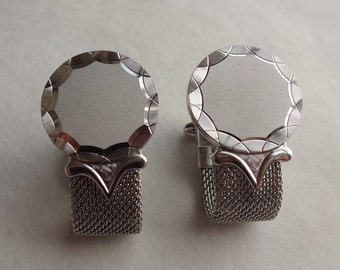 Brushed Silver Mesh Wrap Cuff Links