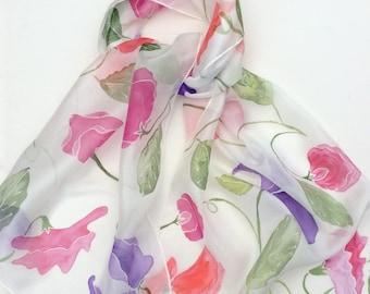 Sweet Peas hand painted silk scarf. Flower Silk scarves. Summer Flowers scsrf.