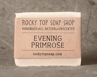 Evening Primrose Soap with Rhassoul Clay - All Natural Soap, Cold Process Soap, Unscented Soap, Facial Soap, Handmade Soap, Vegan Soap