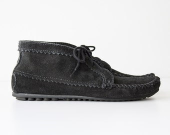 Vintage Black Suede Minnetonka Moccasin Booties