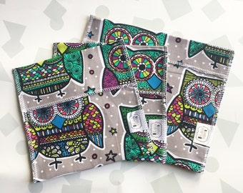Reusable Ecofriendly Sandwich Bag and Snack Bags - paisley owls - set of 3