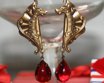 Celtic blood dragon red vintage glass artisan gothic medieval earrings