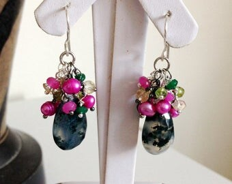 Ashira Moss Aquamarine, Hot Pink Raspberry Fresh Water Pearls, Citrine,. Jade Wire Wrapped Cluster Earrings ~1.75""