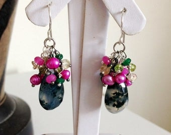 Ashira Moss Aquamarine, Hot Pink Fresh Water Pearls, Citrine,. Jade Wire Wrapped Cluster Earrings ~1.75""