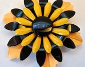Flower Brooch Pin Vintage Enamel Yellow & Black