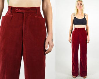 GUCCI PANT Red VELVET Gucci Tuxedo Wide Straight Leg Pants. High Waist and Pockets. Wine Red Velvet Pant. Vintage Gucci. Size Small/Medium