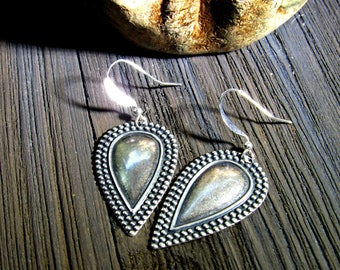 Silver Earrings, Tribal Earring Flair.  Silver Boho Earrings.  Gypsy Silver  Earrings ,  Southwestern Earrings