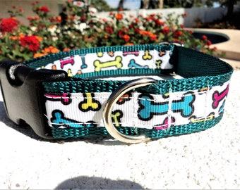 """Sale Dog Collar 3/4"""" or 1"""" wide Side Release buckle adjustable Royal Bones - No Martingales"""