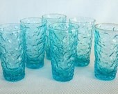 Vintage Set of 6 Anchor Hocking Aquamarine Lido 12 Ounce Glass Tumblers Turquoise Drinking Glasses
