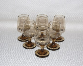 Set of 6 Vintage Libbey Tawny Accent Cordials Rock Sharpe Pattern Tiny Footed Liqueur Smokey Brown Glasses Almost 2 ounce Shot glasses