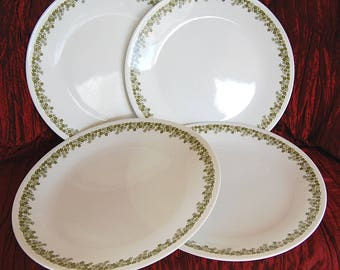 Set of 4 Vintage Corelle Dinner Plates Spring Blossom Dinner Plates AKA Crazy Daisy Green Flowers