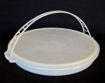 Vintage Tupperware Party Susan with Carrying Handle Serving Center Relish Tray Antipasto Also Makes a Great Craft and Bead Sorting Tray