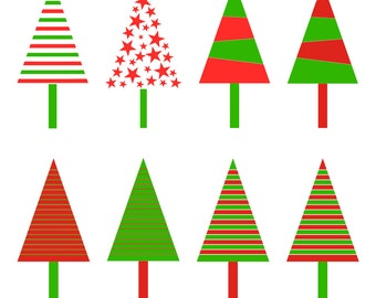 Christmas Trees Clipart, Commercial Use, Instant Download
