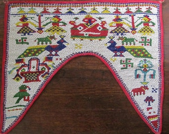 Superb Hand Beaded Kutch Toran Goddess & Peacocks Door Valance Hanging