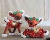 RESERVED Vintage flocked and beaded deer ornaments