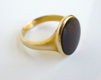 14K Solid Gold Mens Ring w/ Black Stone - Vintage, Size 8 - 5.2 grams