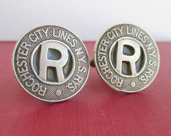 ROCHESTER, NY Transit Token Cuff Links - Vintage, Repurposed Rare Bronze Coins