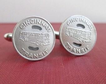 CINCINNATI Transit Token Cuff Links - Repurposed Vintage Coins, Silver Tone