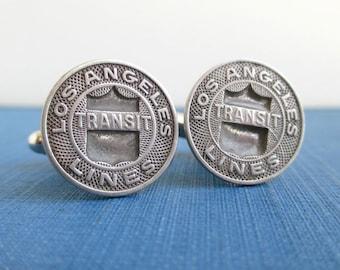 LOS ANGELES Cuff Links - LA Transit Tokens - Silver, Vintage Repurposed Coin